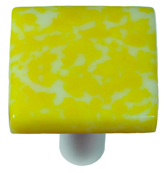 """Aquila Art Glass, Granite, 1 1/2"""" Square Knob, Sunflower Yellow and White"""