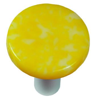 """Aquila Art Glass, Granite, 1 1/2"""" Round Knob, Sunflower Yellow and White"""