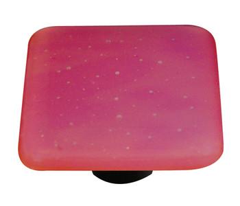"""Aquila Art Glass, Opaline, 1 1/2"""" Square Knob, Red"""