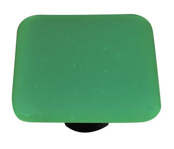 "Aquila Art Glass, Opaline, 1 1/2"" Square Knob, Jade Green"