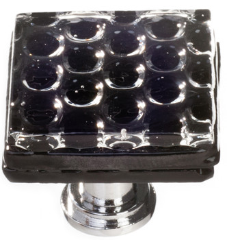 "Sietto, Texture, Honeycomb, 1 1/4"" Square Knob, Black"