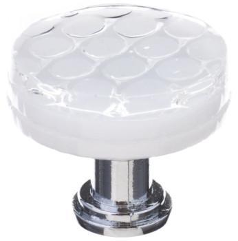 """Sietto, Texture, Honeycomb, 1 1/4"""" Round Knob, White"""
