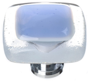"Sietto, Reflective, 1 1/4"" Square Knob, Sky Blue"