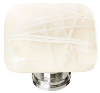 "Sietto, Reflective, Cirrus, 1 1/4"" Square Knob, Vanilla and White Mardi Gras"