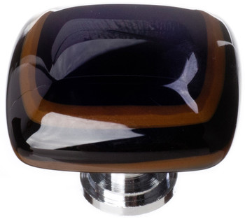 "Sietto, Reflective, Stratum, 1 1/4"" Square Knob, Woodland Brown and Black"