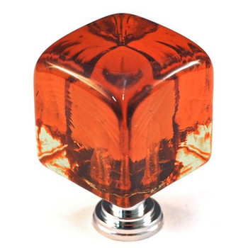 "Cal Crystal, ArtX, 1 1/4"" Large Cube Knob, Clear Amber, shown with a polished chrome base"