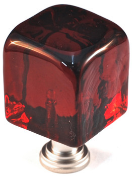 """Cal Crystal, ArtX, 1 1/4"""" Large Cube Knob, Clear Red , shown in Satin Nickel"""