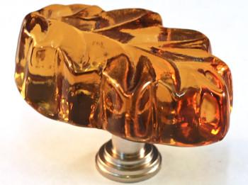 """Cal Crystal, ArtX, 1 1/4"""" Oak Leaf Knob, Clear Amber, shown in Satin Nickel"""