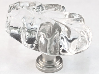 """Cal Crystal, ArtX, 1 1/4"""" Oak Leaf Knob, Clear, shown in Satin Nickel"""