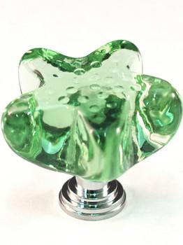 "Cal Crystal, ArtX, 1 1/4"" Starfish Knob, Clear Seafoam Green, shown in Polished Chrome"