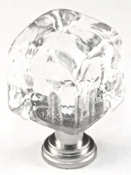 """Cal Crystal, ArtX, 1"""" Small Cube Knob, Clear, shown in Polished Chrome"""