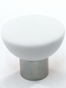Cal Crystal, Athens, Polyester with Solid Brass Flat 33mm Knob, White, shown in Satin Nickel