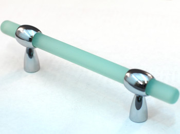 Cal Crystal, Athens, Polyester with Solid Brass Pull, Adjustable Drill Center, Light Green, shown in Polished Chrome
