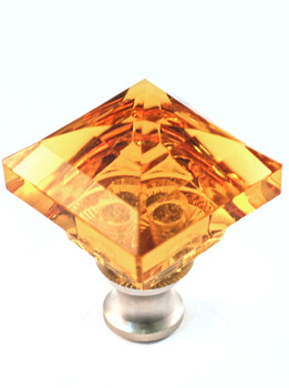 "Cal Crystal, Crystal, 1 1/4"" Square Knob, Clear Amber, shown in Satin Nickel"