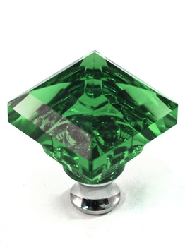 """Cal Crystal, Crystal, 1 1/4"""" Square Knob, Clear Green, shown in Polished Chrome"""