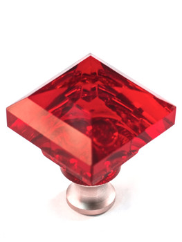 "Cal Crystal, Crystal, 1 1/4"" Square Knob, Clear Red, shown in Satin Nickel"