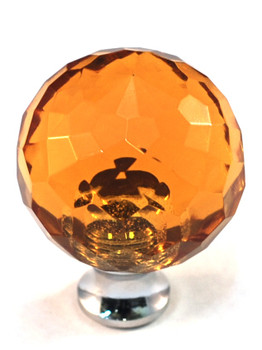 "Cal Crystal, Crystal, 1 3/16"" Round Knob, Clear Amber, shown in Polished Chrome"