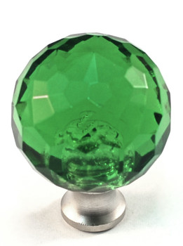 """Cal Crystal, Crystal, 1 3/16"""" Round Knob, Clear Green, shown in Satin Nickel"""