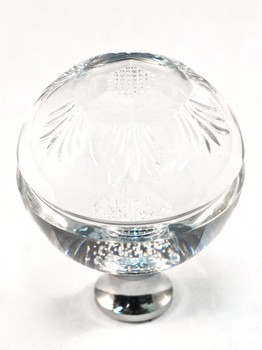 "Cal Crystal, Crystal, 1 3/8"" Intricate Round Ball Knob, Clear, shown in Polished Chrome"