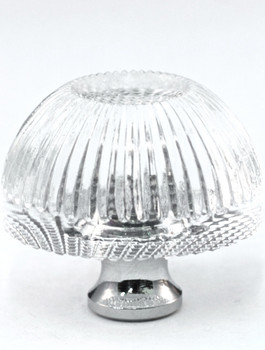 "Cal Crystal, Crystal, 1 3/8"" Grooved Round Knob, Clear, shown in Polished Chrome"