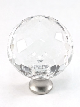 "Cal Crystal, Crystal, 1 3/8"" Faceted Round Globe Knob, Clear, shown in Satin Nickel"