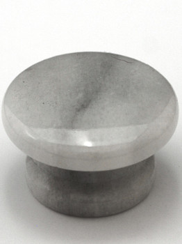 """Cal Crystal, Marble, 1 5/8"""" Wide Bottom Flat Top Knob, White Marble"""