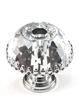 "Cal Crystal, Crystal, 1 1/2"" Round Dome Knob with Insert, Clear, shown with polished chrome insert and base"