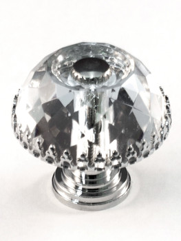 "Cal Crystal, Crystal, 1 1/8"" Round Dome Knob with Frame and Insert, Clear, shown with Polished Chrome insert and base"