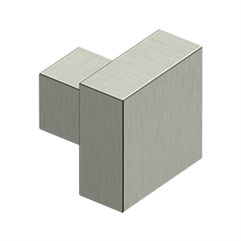 "Deltana, 1 1/4"" Modern Square knob, Satin Nickel"