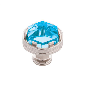 """Belwith Keeler, Chrysalis, 1 3/16"""" Round Knob, Polished Nickel with Cerulean Glass"""