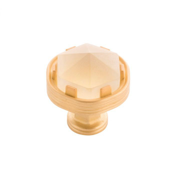"Belwith Keeler, Chrysalis, 1 3/16"" Round Knob, Brushed Golden Brass with Frosted Glass"