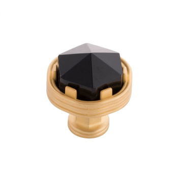 "Belwith Keeler, Chrysalis, 1 3/16"" Round Knob, Brushed Golden Brass with Black Glass"