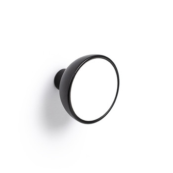 Century, Black + Wood, 45mm Round Knob, Matte Black with White Enamel
