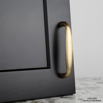 "Century, Glamour, Premium Solid Brass 4"" Straight Pull, Satin Brass, installed"