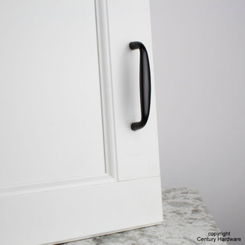 "Century, Glamour, Premium Solid Brass 4"" Straight Pull, Matte Black, installed"