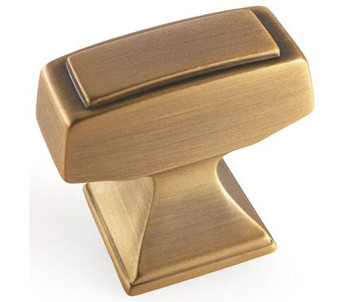 "Amerock, Mulholland, 1 1/4"" Rectangle Knob, Gilded Bronze"