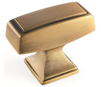 "Amerock, Mulholland, 1 1/2"" Rectangle Knob, Gilded Bronze"
