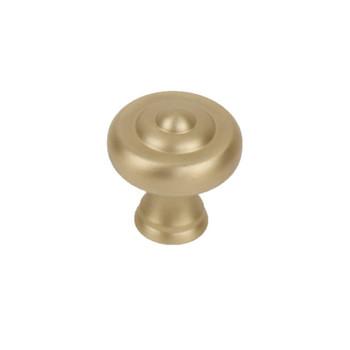 """Century, Glamour, Premium Solid Brass 1 1/2"""" Round Knob, Satin Brass"""