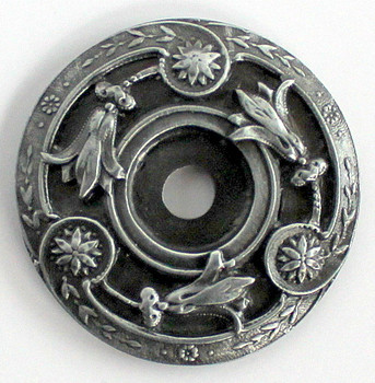 Notting Hill, Jeweled Lily, Knob Back Plate, Antique Pewter