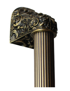"Notting Hill, Acanthus, Antique Brass with 10"" Fluted Bar Appliance Pull, 14"" Total Length"