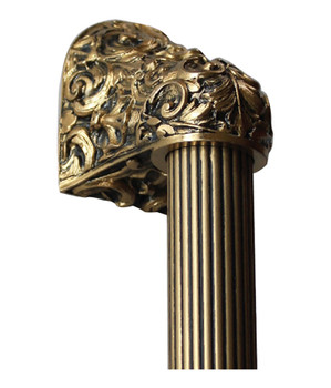 """Notting Hill, King's Road, Acanthus, 24K Satin Gold with 8"""" Fluted Bar Appliance Pull, 12"""" Total Length"""