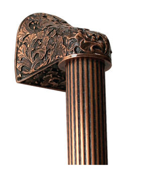 "Notting Hill, Florid Leaves, Antique Copper with 12"" (305mm) Fluted Bar Appliance Pull, 16"" Total Length"