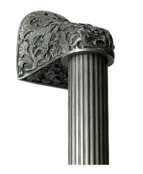 "Notting Hill, Florid Leaves, Antique Pewter with 10"" Fluted Bar Appliance Pull, 14"" Total Length"