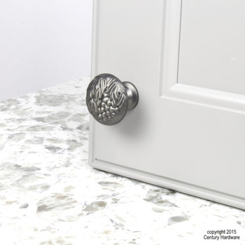 "Century, Vineyard, Premium Solid Brass 1 3/8"" Round Knob, Antique Nickel, installed"