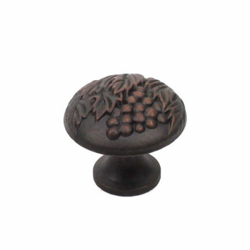 "Century, Vineyard, Premium Solid Brass 1 3/8"" Round Knob, Weathered Bronze with Copper"