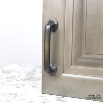 "Century, Whistler, Cast Bronze 4"" Straight Pull, Bronze Aged Iron, installed"
