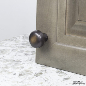 "Century, Whistler, Cast Bronze 1 3/8"" Round Knob, Bronze Aged Iron, installed"