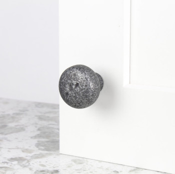 "Century, Whistler, Cast Bronze 1 3/8"" Round Knob, Dark Silver Aged, installed"