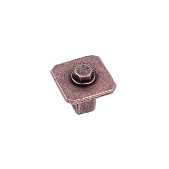 Century, Raw Authentic, 27mm Zinc Die Cast Square Knob, Aged Matte Red Copper