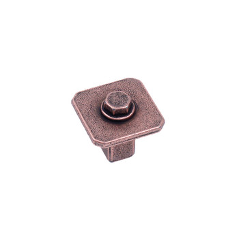 Century, Raw Authentic, 27mm Zinc Die Cast Square Knob, Aged Matte Red Copper